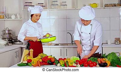 chapeau, professionnel, chef cuistot, cuisine, vagetable, femme homme