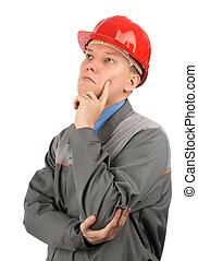 chapeau, rouges, ingénieur