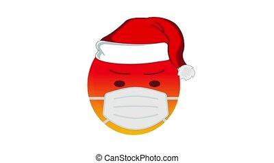 chapeau, rouges, isolé, protecteur, alpha, monde médical, masque, canal, pendant, concept, hiver, arrière-plan., holidays., santa, coronavirus, claus, blanc, animation, mal, noël, protection, emoji, contre