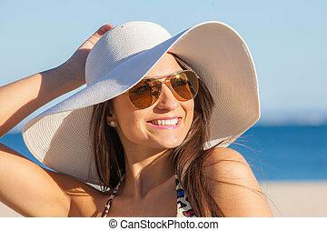 chapeau, soleil, glasses., femme, vacances