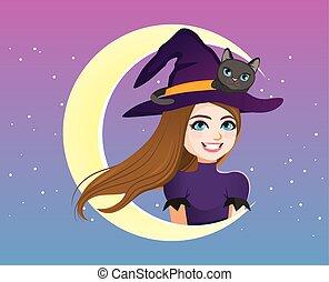 chapeau, sorcière, chat