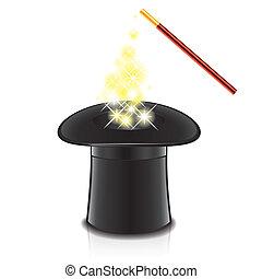 chapeau, vecteur, magie, illustration, baguette