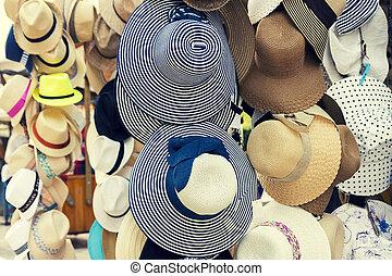 chapeaux été, retro, vente