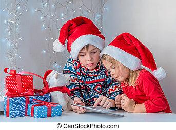 chapeaux, appeler, frère, soeur, santa, noël, grandparents., greetings., ligne