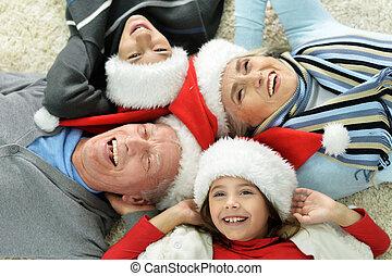 chapeaux, famille, santa, heureux