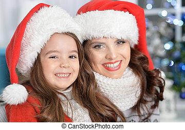 chapeaux, girl, santa, mère