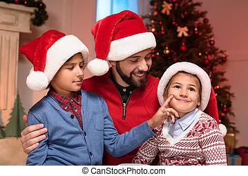chapeaux, gosses, père, santa