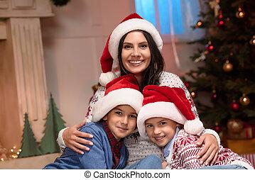 chapeaux, gosses, santa, mère