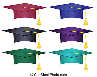 chapeaux, multiple, coloré, remise de diplomes