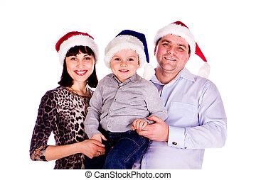 chapeaux, noël, famille, heureux