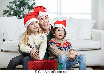 chapeaux port, père, santa, frères soeurs, pendant, noël