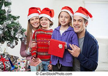 chapeaux, présent, santa, noël famille