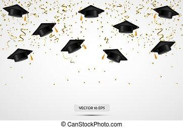chapeaux, remise de diplomes, arrière-plan., vector., confetti., célébration