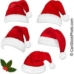 chapeaux, rouges, collection, santa
