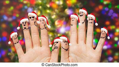 chapeaux, smiley, haut, doigts, santa, fin