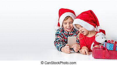 chapeaux, sourire, frère, soeur, santa, téléphone., noël, conversation, greetings., ligne