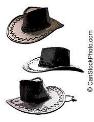 chapeaux, trio, cow-boy