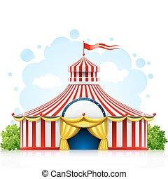 chapiteau, flânerie, cirque, drapeau, rayé, tente