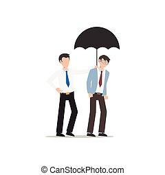 chaque, ami, business, white., isolé, caractère, autre., plat, illustration, dessin animé, conception, portion, umbrella., concept, homme, donner
