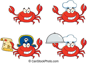 character., crabe, collection, quatre