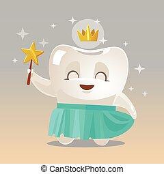 character., illustration, dent, vecteur, sourire, fée, dessin animé, heureux