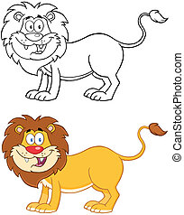 character., lion, collection, mascotte