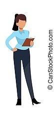 character., vecteur, réussi, jeune, femme travail, bureau, concept, professionnel, affaires modernes, femme affaires