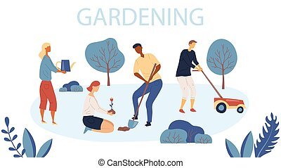 characters., vecteur, fleurs, gardening., jardins, lawn., jardinage, style., femme, illustration, plat, job., planter, agriculture, gens, fauchage, jardin, homme
