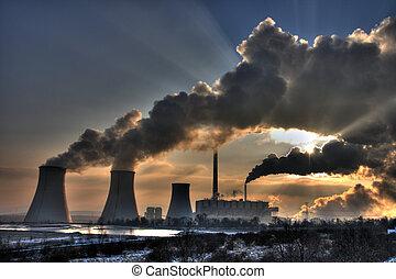 charbon, centrale électrique, -, cheminées, vapeurs, vue