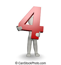 charcter, tenue, numéro quatre, humain, 3d
