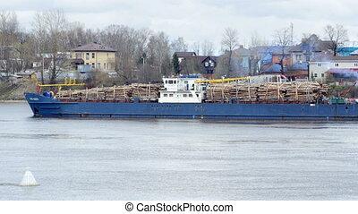 chargé, bois construction, bateau, rond