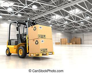 chargement, élévateur, stockage, boxes., camion, entrepôt, carton, ou