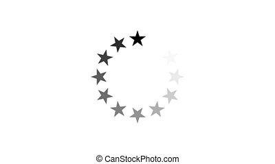 chargement, étoile, -, channel., arrière-plan animation, alpha, cercle, blanc, icône