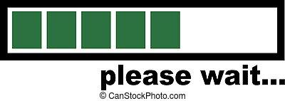 chargement, barre, s'il vous plaît, -, vert, attente
