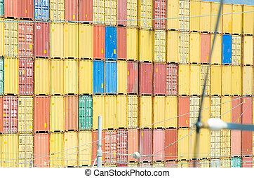 chargement, port, récipients, piles