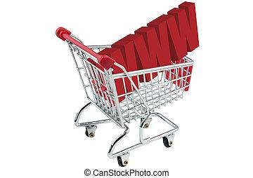 chariot, achats, internet