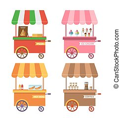 chariot, ensemble, pizza, charrette, icônes