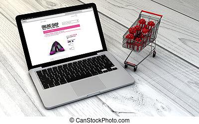 chariot, magasin, ordinateur portable, ligne