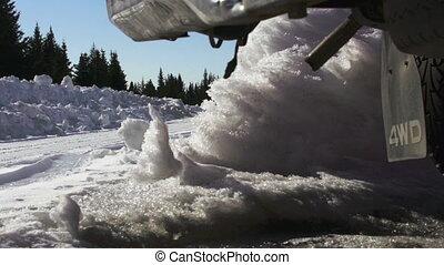 chariot, route, camion, neige, conduite, slomo
