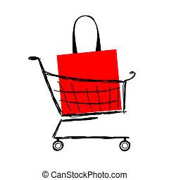 chariot, sac, conception, ton, rouges