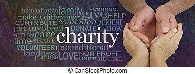 charité, mots, mot, bannière, associé, campagne, nuage