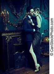 charmant, amants, passionné