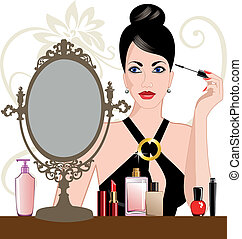 charme, femme, application maquillage