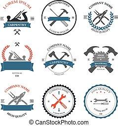 charpenterie, conception, vendange, outils, étiquettes