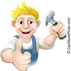 charpentier, construction, ou, g, dessin animé