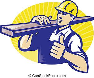 charpentier, haut, pouces, dépôt bois, ouvrier