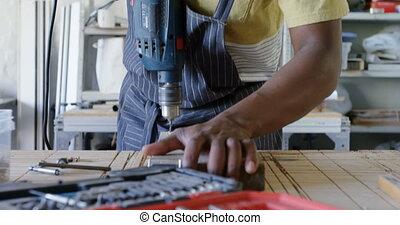 charpentier, machine, utilisation, foret, 4k
