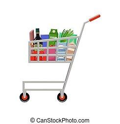 charrette, achats, produits