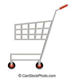 charrette, achats, vide