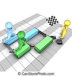 chart., concept, équipe, flagman, symbolise, projet, deadline., gantt, tasks., complète